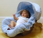 Blue infant car seat cover