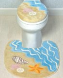 Seashell Beach Toilet Seat Cover & Rug Mat Bathroom