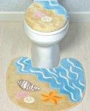 Seashell Beach Toilet Seat Cover & Rug Mat Bathroom